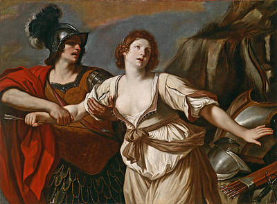 Guercino Painting - Rinaldo Restraining Armida From Wounding Herself With An Arrow by Guercino