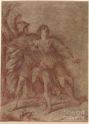 Giovanni Francesco Barbieri Painting - Rinaldo Stopping Armida From Suicide by Giovanni Francesco