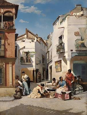 Seville Painting - Ring-shaped Pastry Sellers by Mountain Dreams