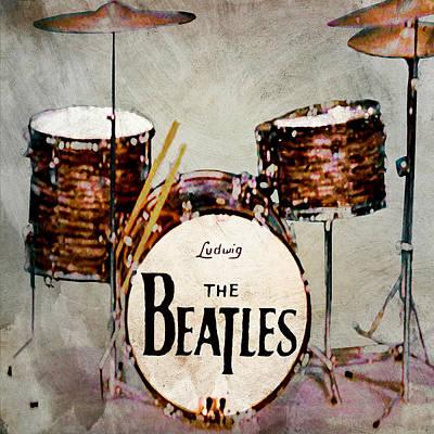 Fab Four Digital Art - Ringo's Drums by Bill Cannon