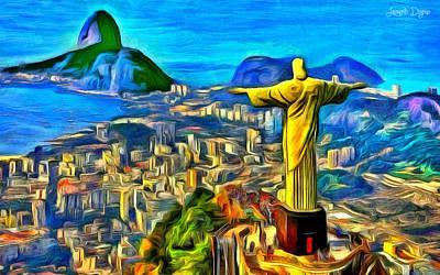 Bay Digital Art - Rio De Janeiro - Da by Leonardo Digenio