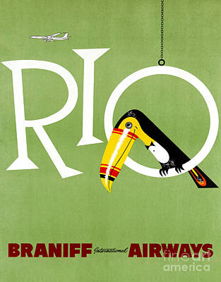 Toucan Mixed Media - Rio Vintage Travel Poster Restored by Carsten Reisinger