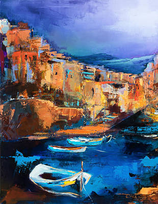 Abstract Night Sky Painting - Riomaggiore - Cinque Terre by Elise Palmigiani