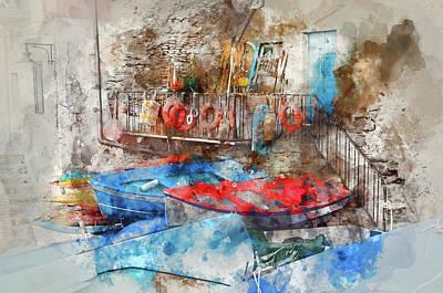 Row Boat Digital Art - Riomaggiore Italy Digital Watercolor On Photograph by Brandon Bourdages