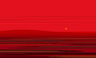 Minimalist Landscape Digital Art - Ripple - Red by Val Arie