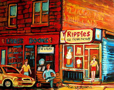 Montreal Cityscapes Painting - Ripples Ice Cream Factory by Carole Spandau