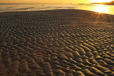 Scenic Photograph - Ripples In The Sand Low Tide Golden Sunset by James BO Insogna