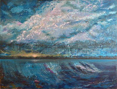 Rise Above Stormy Blues Print by Cheryl Louise Johnson