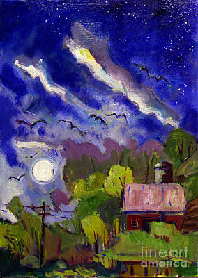 Southern Indiana Painting - Rising Moon On Walnut Ridge by Charlie Spear