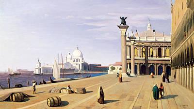 Barrel Painting - Riva Degli Schiavone by Jean Baptiste Camille Corot