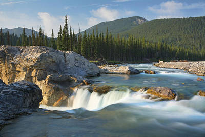 River And Waterfall In Morning Light Print by Philippe Widling