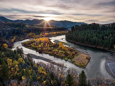 River Bend Sunrise Print by Leland D Howard