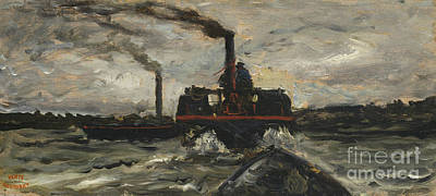 River Boat Print by Charles Francois Daubigny