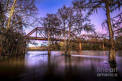 Fence Posts Photograph - River Bridge by Marvin Spates