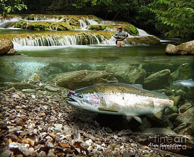 Salmon Drawing - River Chrome by Alex Suescun