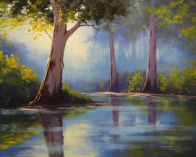 Australian Painting - River Gum Trees by Graham Gercken