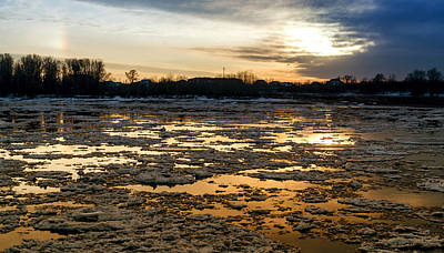 River Ice At Dusk In Colour Print by John Williams
