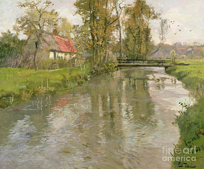 Rural House Painting - River Landscape by Fritz Thaulow