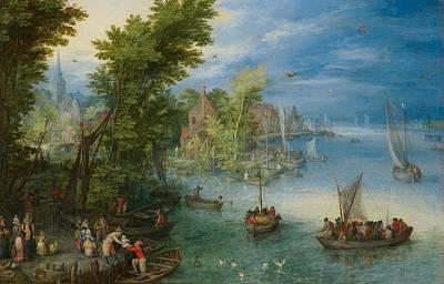 Duck Painting - River Landscape by Jan Brueghel the Elder