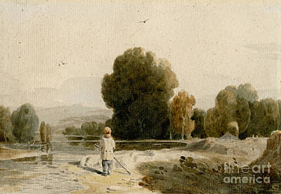 Gir Painting - River Landscape With A Boy Standing On The Bank by MotionAge Designs