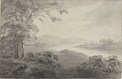 River Landscape With Ruins Print by William Gilpin