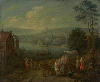 River Landscape With Villages And Travelers Print by Follower Of Peeter Gysels
