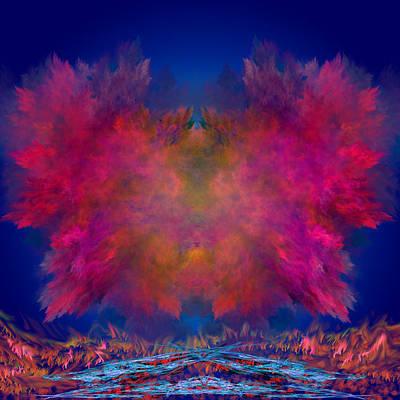 Abstract Digital Art Expressionism Impressionism Color Colorful River Digital Art - River Of Fire by Mark W Ballard