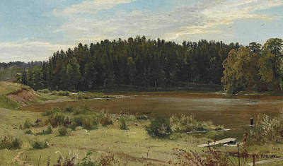 Edge Painting - River On The Edge Of A Wood by Ivan Shishkin