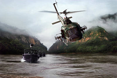 Helicopter Digital Art - River Patrol by Peter Chilelli