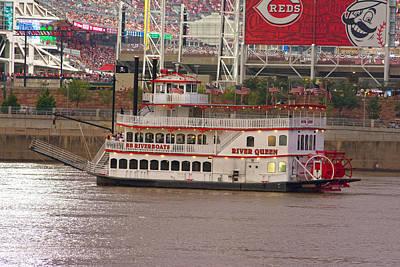 River Queen Reds Stadium Ohio Print by Randall Branham