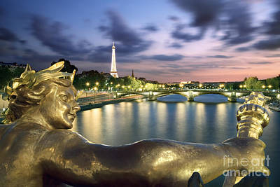 Illuminated Photograph - River Seine - Paris by Rod McLean