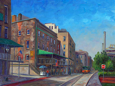 Trolly Painting - River Street Savannah by Jeff Pittman