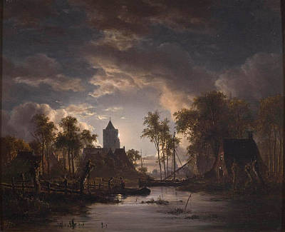 Jacob Abels Painting - River View With Church Tower by Jacob Abels