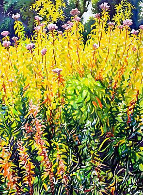 Golden Sunlight Painting - Riverside Late Summer by Christopher Ryland