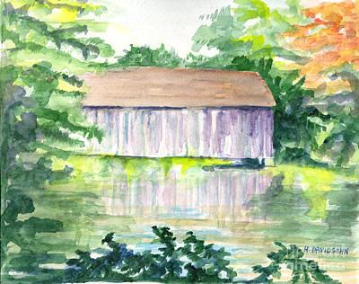 Watercolor Painting - Riverside Reflections by Harriet Davidsohn