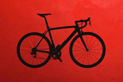 Road Bike Silhouette - Black On Red Canvas Original by Serge Averbukh