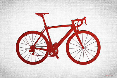 Upscale Digital Art - Road Bike Silhouette - Red On White Canvas by Serge Averbukh