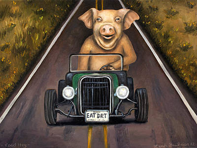 Hot Rod Painting - Road Hog by Leah Saulnier The Painting Maniac