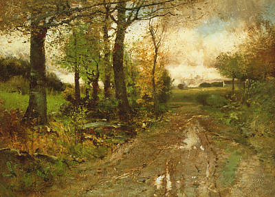 Bog Painting - Road Through The Woods by John Francis Murphy