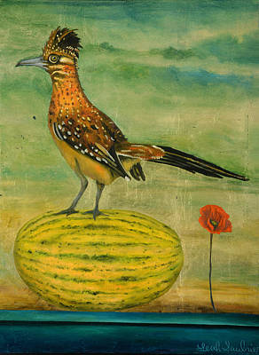 Roadrunner Painting - Roadrunner On A Melon by Leah Saulnier The Painting Maniac