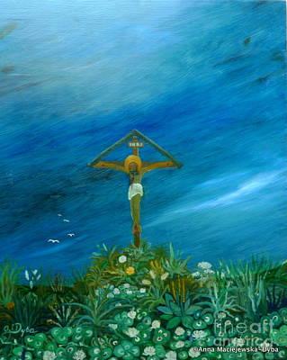 Polscy Malarze Painting - Roadside Cross by Anna Folkartanna Maciejewska-Dyba
