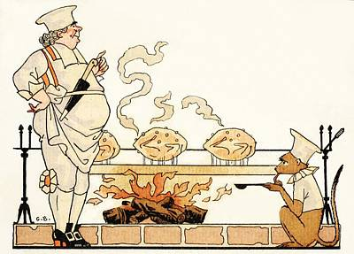 Ape Drawing - Roasting On A Spit by Georges Barbier
