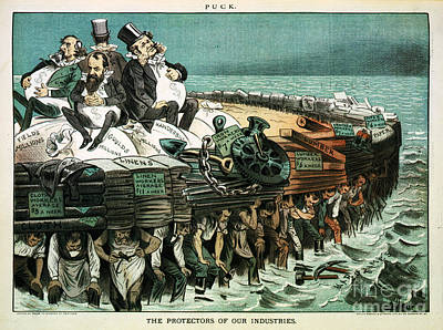 Robber Barons Crushing Workers Print by Science Source