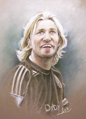 Football Art Drawing - Robbie Savage by Miki De Goodaboom