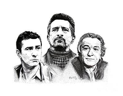 Robert De Niro Pen And Ink Drawing In Black And White Original by Mario Perez