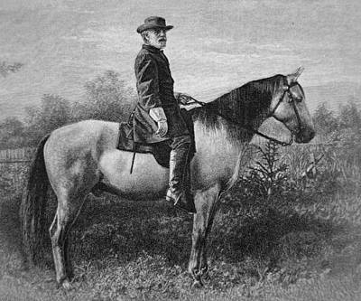Robert E Lee On His Horse Traveler Print by American School