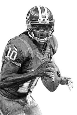 Quarterback Drawing - Robert Griffin IIi by Bobby Shaw