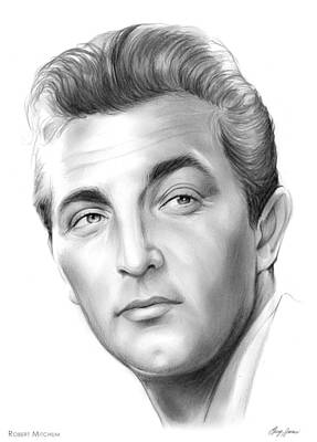 Celebrities Drawing - Robert Mitchum by Greg Joens