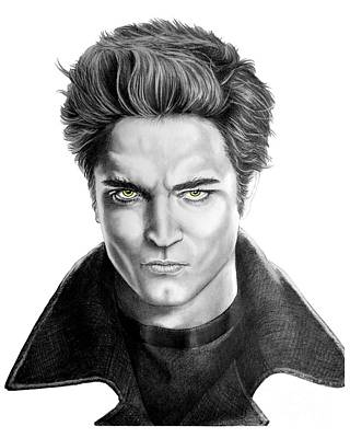 Famous People Drawing - Robert Pattinson - Twilight's Edward by Murphy Elliott
