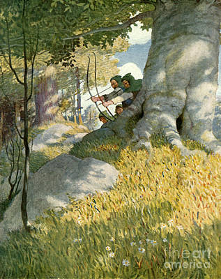 Aiming Painting - Robin Hood And His Companions Rescue Will Stutely by Newell Convers Wyeth